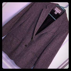 Two button brown tweed blazer